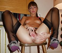 Hairy Lingerie Honey wearing Stockings and show her Pussy